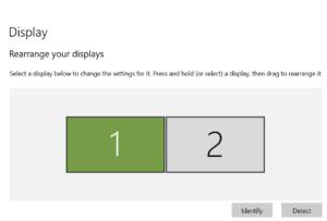 detecting displays on windows 10